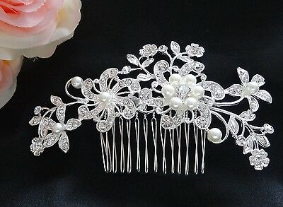 Wedding Bridal Hair Comb White Pearl Headpiece Rhinestones Crystal Flower Silver