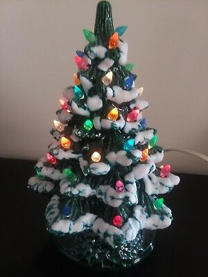 """Vintage Green Ceramic CHRISTMAS TREE with SNOW LADEN BRANCHES 10"""" Tall"""