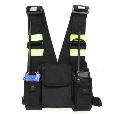 Rescue Essentials Oxford Cloth Radio Chest Front Pack Pouch Holster Vest Rig 1pc