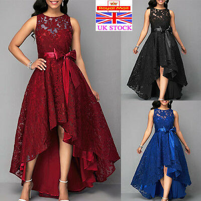 Plus Size Womens Lace Long Dress Sleeveless Evening Party Cocktail Prom Gown UK