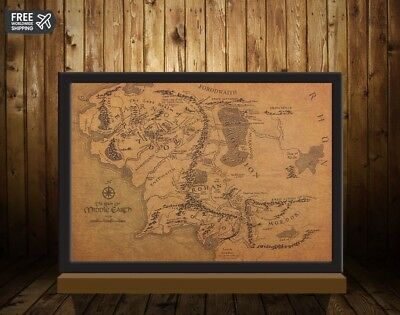 Vintage Middle Earth Map The Lord of The Rings Poster Home Decor Retro Gift