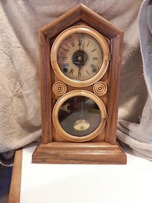 Antique Ingraham Doric Mantel Shelf Clock with Alarm