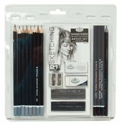 21Pcs Graphite Pencil Sketching & Charcoal Drawing Sticks Artist Set RART200