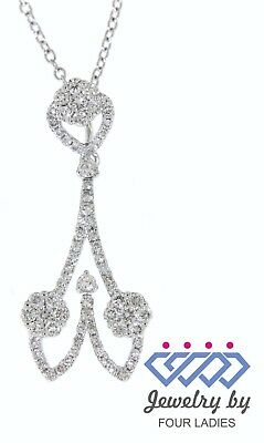 Solid Real Natural Diamond 14K White Gold 0.58CT Unique Pendant For Woman