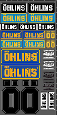 STICKER OHLINS MOTO SPONSOR DECAL AUFKLEBER SET KIT ADESIVI DECAL BIKE 25 pcs