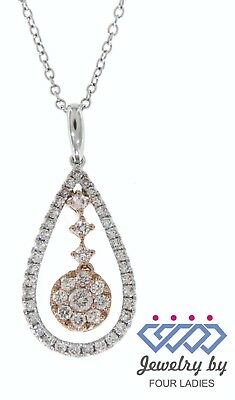 Solid Real Natural Diamond 14K Multi-Tone Gold 0.65CT Fancy Pendant Jewelry