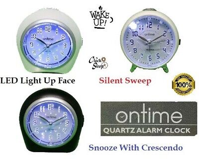 On Time® Non Ticking Alarm Clock Sweeping Second Hand Snooze & LED Light Up Dial