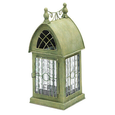 Glass and Metal Architectural Candle Holder Lantern - Green Patina Durham House