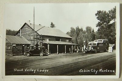 Vntg Log Cabin Trout Valley Lodge & a Seattle Upper Deck Bus Cabin City Montana