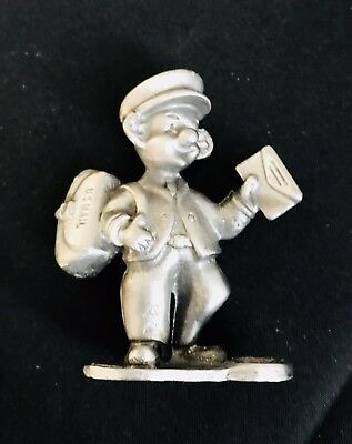 Solid Pewter Letter Carrier Mailman US Post Office Silver Metal Figurine Statue