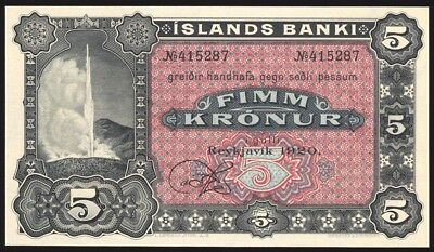 Iceland 5 Kronur Remainder 1920 P15r Uncirculated