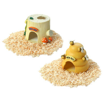 2x Resin House Bee & Stump Cabin Nest Bed For Hamster Rat Small Animal Pet