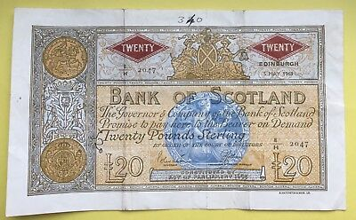 Very Fine 1969 Bank of Scotland £20 note