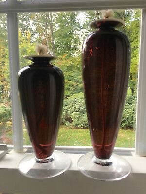 2 Amethyst Art Glass  Oil Lamps Hand Blown Artist Signed 2002 European