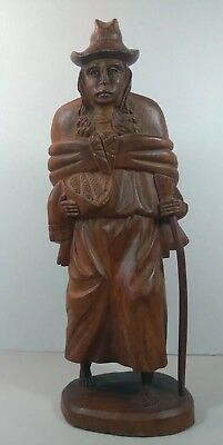 "LARGE VINTAGE Native American Indian SIGNED HAND CARVED WOOD Sculpture 16"" TALL"