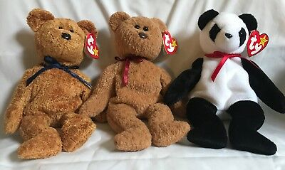 TY Beanie Baby Babies - 3 Bears Fuzz, Curly Tag Errors, Fortune