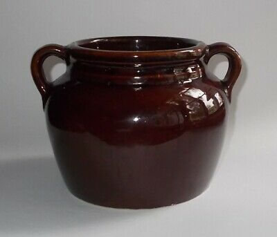 Vintage Brown Stoneware Bean Pot-Loop Handles-NO LID-Great Wooden Spoon Holder