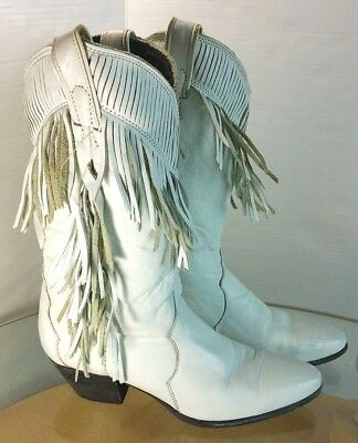 933209ec979f4 VINTAGE ZODIAC WESTERN Cowboy Boots cream white Embossed Leather ...