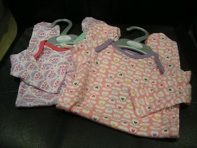 2 x GIRLS BABYGROWS SLEEPSUITS ALL-IN-ONE 0-3 MONTHS HEARTS BALLOONS - BNWT