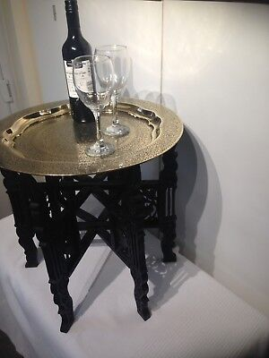 British-Indian Campaign Folding Table, Brass, Carved Wood.