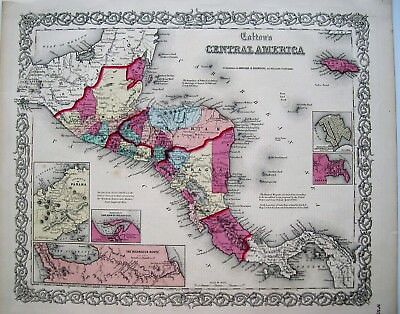 Antique Engraved Colton Map of Central America: Original Hand Coloring 1855