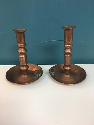"""COPPER CHAMBERSTICK CANDLESTICK HOLDER HAND HAMMERED Set 8"""" Thumb Loop Antique"""