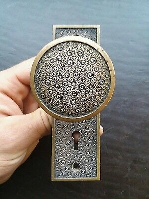 Antique Victorian Brass Bronze Door Knob and Back Plate Russell Erwin Damascene