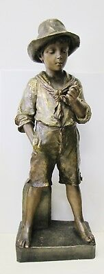 French Late 19th - Early 20th century large Terracotta Statue of a Boy