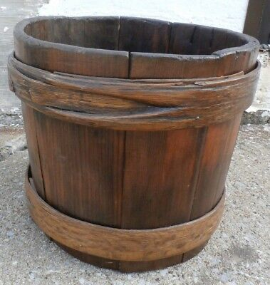 Primitive Antique Wooden Keeler Maple Syrup Sap Bucket-10 Inches Tall