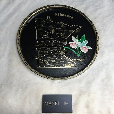 Vintage US State Tin Souvenir Plate or Tray with Map and Flowers, Minnesota