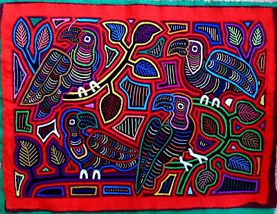 Kuna Indian Art. Hand Stitch. Group of Parrots-342. Mola Art of Panama.