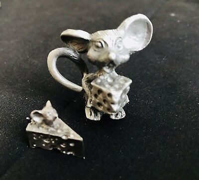 2 Pc Solid Pewter Silver Mouse Swiss Cheese Wedge Nice Rat Figurines