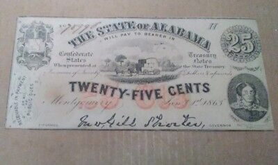 Civil War Era 1863 State of Alabama 25 Cents 25¢ Fractional Currency Note
