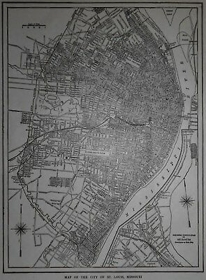 Great! Antique World War WWI Era 1914 City OLD Map St Louis, MO Missouri L@@K!