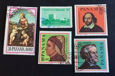 Panama: 5 old used stamps