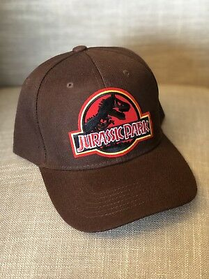 77d2b9e37c4 Jurassic Park Hat Brown Trucker Embroidered Red Patch Cap Dinosaur Movie  Claw