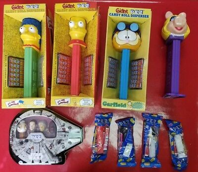 Giant PEZ LOT Garfield BART MARGE SIMPSON MISS PIGGY STAR WARS AND SINGLES PEZS