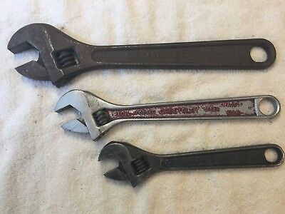 """Set of 3 VINTAGE CRESCENT ADJUSTABLE WRENCHES, 12"""", 10 """" AND 8"""" MADE IN USA."""