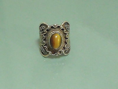 Vintage silver sterling 925 antique ring hand made art Deco style size 6 1/4 KP