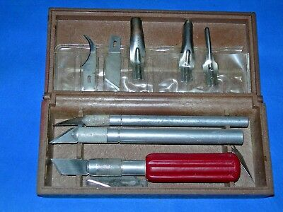 Old X-Acto Craft Knife Set. In Brown Heavy Plastic Box.