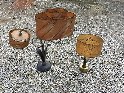 Vintage Mid-Century Modern Berger Majestic Lamps with original Fiberglass Shades