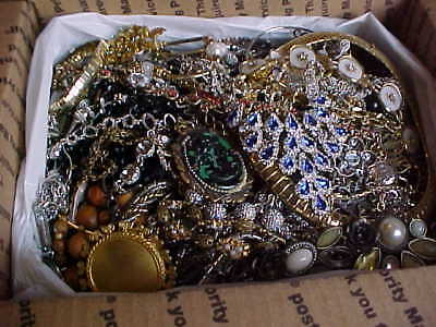 10 lbs.  craft jewelry lot unsorted good craft junk or repair.