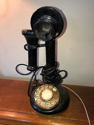 Vintage Candlestick Rotary Tele Phone by Fold-a-Fone Black/Brass ~1975 NYC AS-IS