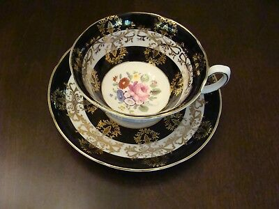 Royal Grafton Cup and Saucer Black with Gold Overlay and Floral Bouquet