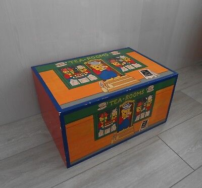 Vintage Painted Wooden Toy Box with Extras