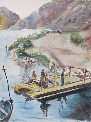 FRANK KEENAN Listed Illinois Artist Original Watercolor Figures Fishing Vintage