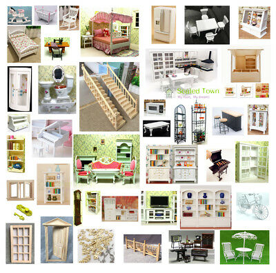 1/12 Dolls House Miniature Bedroom Kitchen Living Room Furniture Set Bed Cabinet