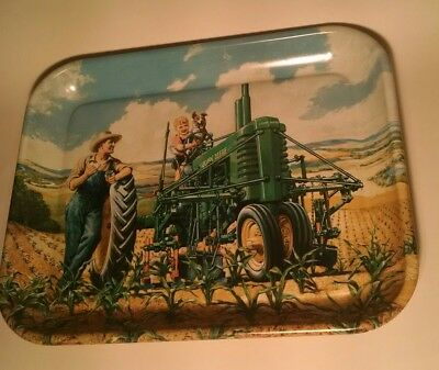 JOHN DEERE LUNCH TIME METAL SERVING TRAY -MODEL B TRACTOR MFG 1997 Walter Hinton