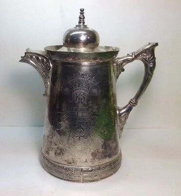 Vintage Meriden B Company Victorian Silverplate Water Pitcher # 187 Pat 1868