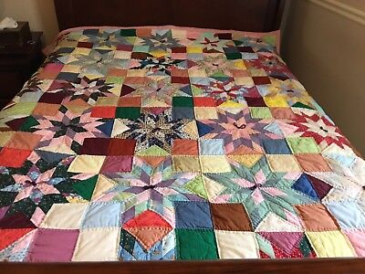 Vintage STAR PATTERN HAND PIECED QUILT-SO Colorful-Lovely Work! GREAT CONDITION